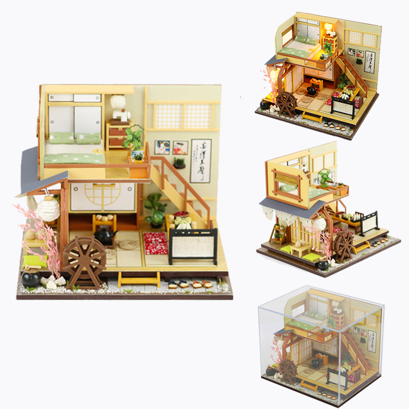 Doll House Diy Miniature 3D Wooden Miniaturas Dollhouse Japanese style Furniture Building Kits Toys for Children Christmas Gifts-in Doll Houses from Toys & Hobbies