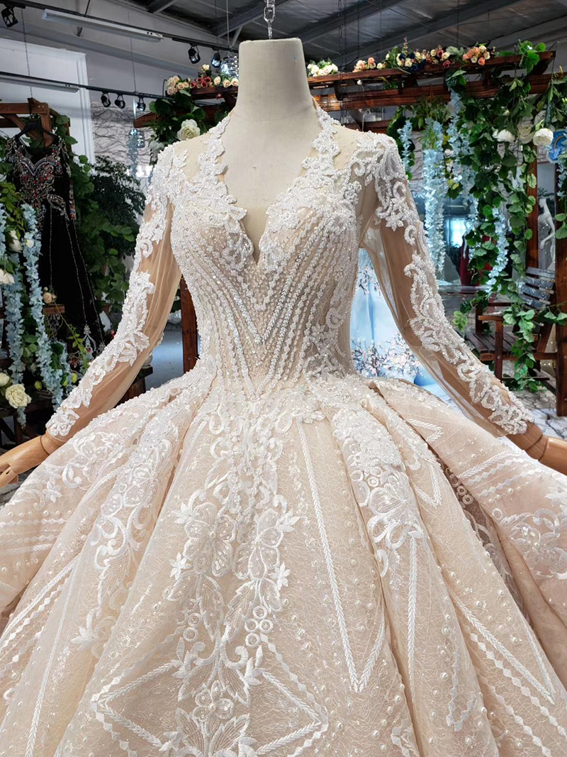 HTL433 long sleeves lace wedding dresses with train v-neck open back puffy ruffle wedding gowns heavy handwork robe de mariee (4)