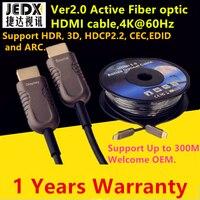 Кабель HDMI 50ft (15 м) волокно оптическое hdmi2.0 кабель 4 К 60 Гц высокое Скорость Поддержка 18 Гбит/с, HDR, 3D субдискретизация 4:4:4/4:2:2/4:2:0 до 300 м