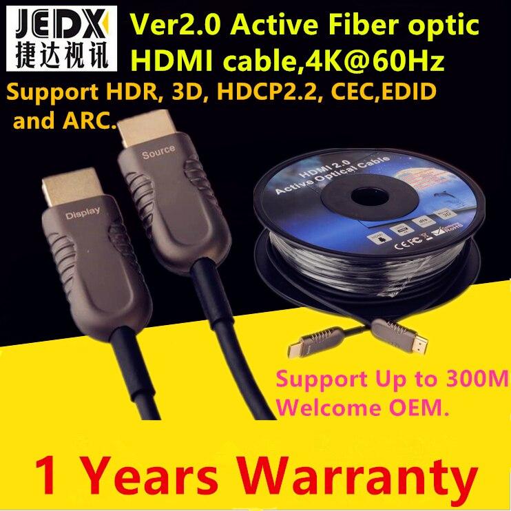 HDMI Câble 50ft (15 M) Fiber Optique HDMI2.0 Câble 4 K 60 HZ Appui à Haute Vitesse 18 Gbps, HDR, 3D Sous-Échantillonnage 4:4:4/4:2:2/4:2:0 jusqu'à 300 m