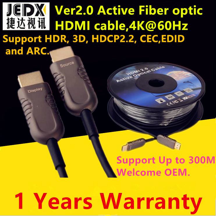 HDMI Cable 50ft (15M)Fiber Optic HDMI2.0 Cable 4K 60HZ High Speed Support 18Gbps,HDR,3D Subsampling 4:4:4/4:2:2/4:2:0 UP to 300m