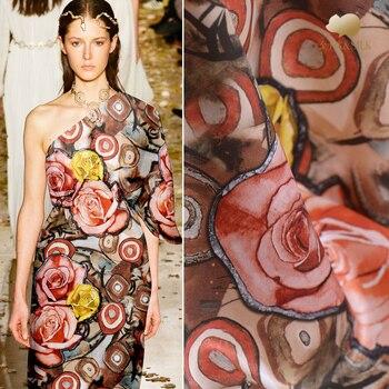Rose digital inkjet silk double-sided heavy satin fabric 40mm luxury treasure cheongsam dress silk fabric wholesale silk cloth
