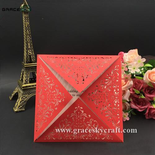 50pcs free shipping 150 150mm new laser cut four folding design lace