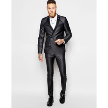 New Style Black Double Breasted Men Suit Slim Fit 2 Piece Suits Groom Tuxedos Custom Prom Men Blazer (Jacket+Pants)