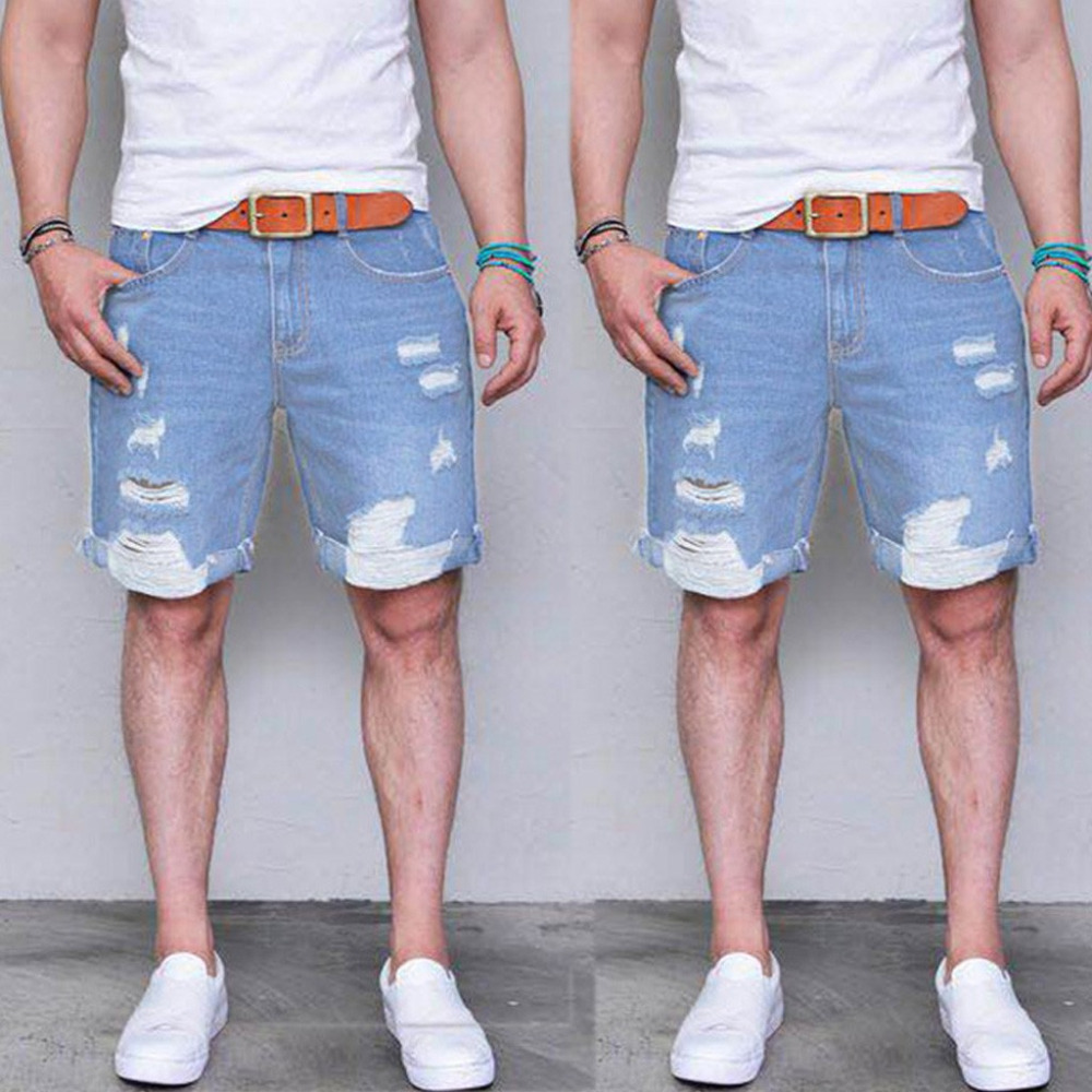 2019 Men's Fashion Casual Slim Fit Sport Shredded Denim Shorts Jeans Pants Gift Summer Board Shorts Modis