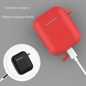 Image 3 - 실리콘 블루투스 이어폰 케이스 apple airpods 2 에어 포드 액세서리 1:1 실리콘 케이스 커버 보호 스킨 키 체인