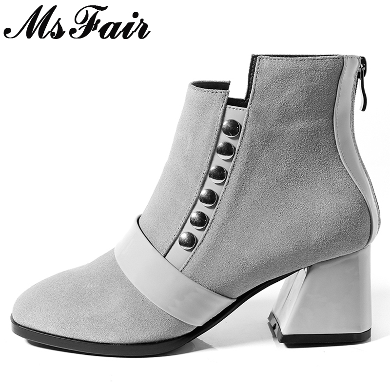 MsFair Square Toe Square heel Women's Boots Zipper High Heel Ladies Boot 2017 Metal Decoration Rivet Women's Ankle Boots Shoes double barrel toddler boys s andy cowboy boot square toe