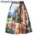 Neophil 2016 mulheres verão jardim pintura floral impresso vestido de baile plissada cintura alta flare swing saias femininas faldas s07049