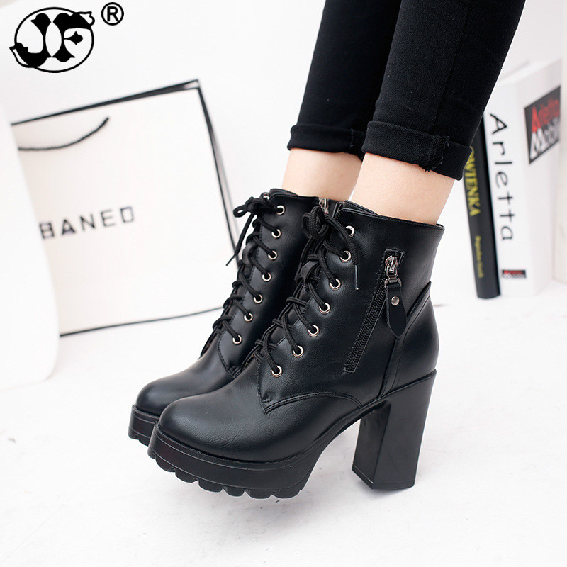 Fashion Black Red Grey Martin Boots Women Spring Autumn Lace-up Soft Leather Platform Shoes Woman Party Ankle Boots High Heels G