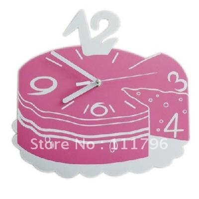 Fashion creative cake shaped wall clock , novelty  time wall  clock. ,cute  birthday  gift.  10pcs/lot,  free  DHL  shipping
