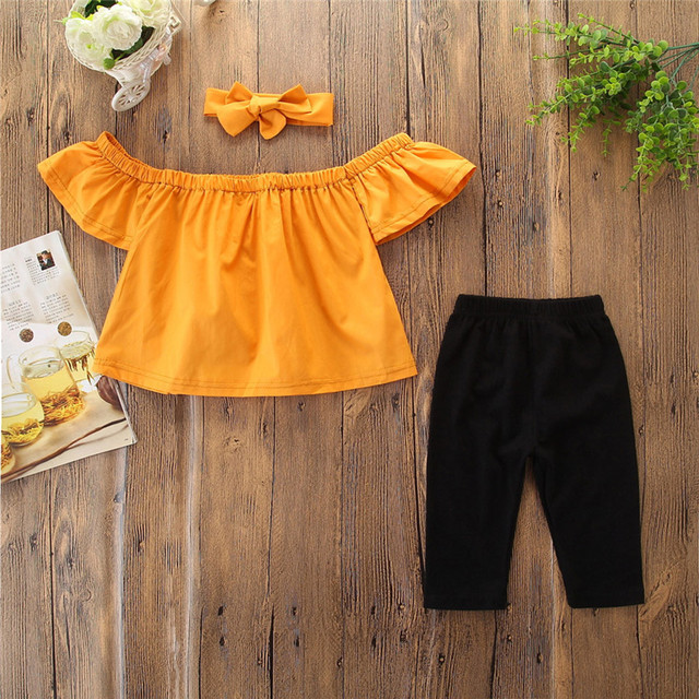 Toddler Summer Girls Clothes Outfits Off Shoulder T-shirt Kids Clothes Tops+Pants+Headband Clothing Sets Vetement Enfant Fille