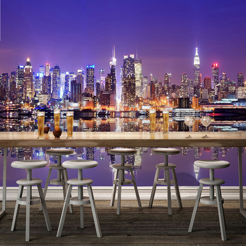 Custom 3D Mural Wallpaper Modern City Night Landscape Photo Wall Painting Living Room Restaurant Backdrop Wall Papel De Parede