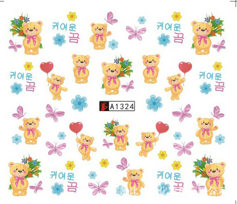 Nail Sticker Art Decoration Slider Teddy Bear Flower Adhesive Water Transfer Decals Manicure Lacquer Accessoires Polish Foil