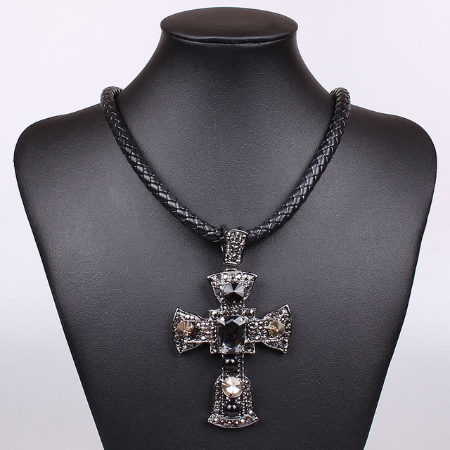 New Free Shipping Fashion Chunky Leather Necklace Black Wire Rope ...