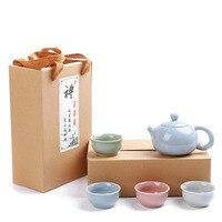 Factory Direct Teapot Teacups Gift Ge Kiln Tea Set Promotion 1 pot 4 cups Environmental Protection Gift Box
