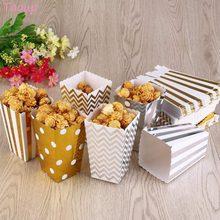 Taoup 6 pcs Onda Listra do Ouro Caixa de Pipoca Feliz Aniversário Decorações Do Partido Crianças Lanche Caixa de Doces de Papel Fontes Do Partido Do Festival casamento