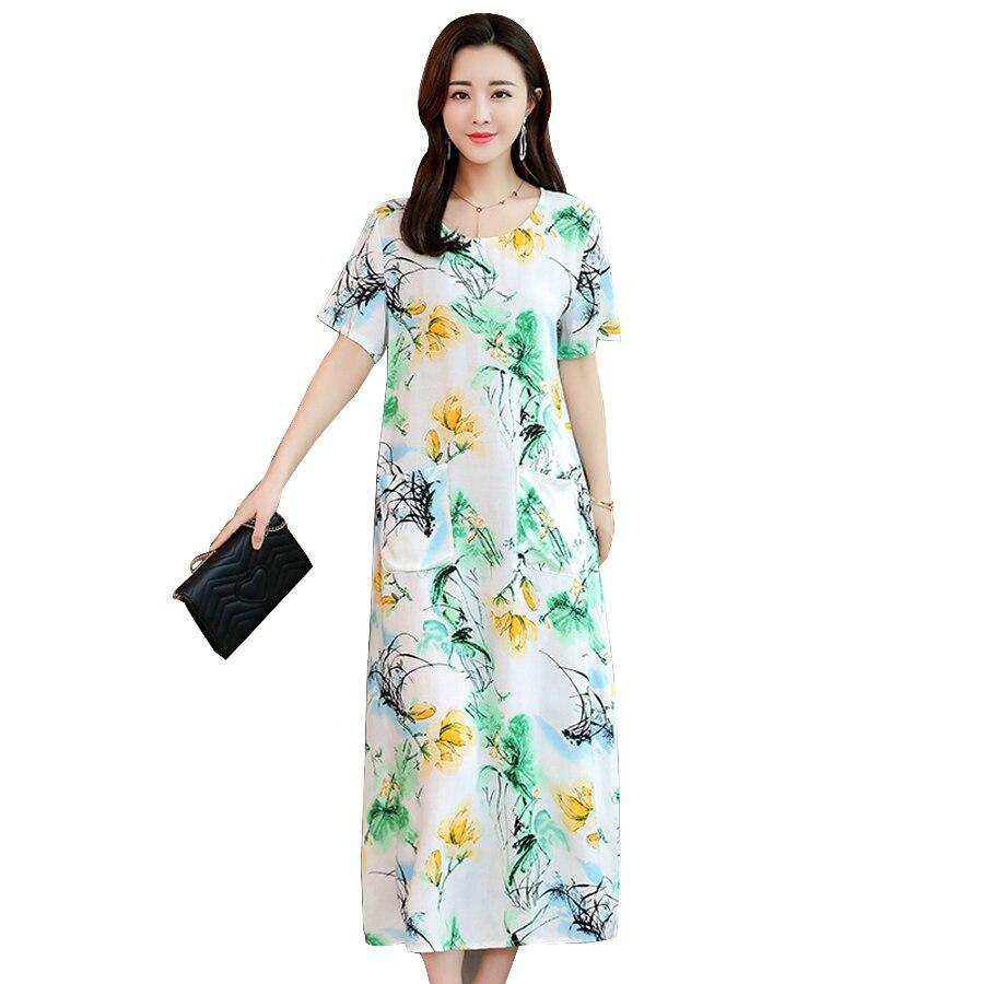 Pflichtbewusst Sommer Kleid 2019 Kurzarm Oansatz Ankle-länge Frauen Kleid Vintage Print Casual Kleider Weibliche Plus Größe 6xl StraßEnpreis
