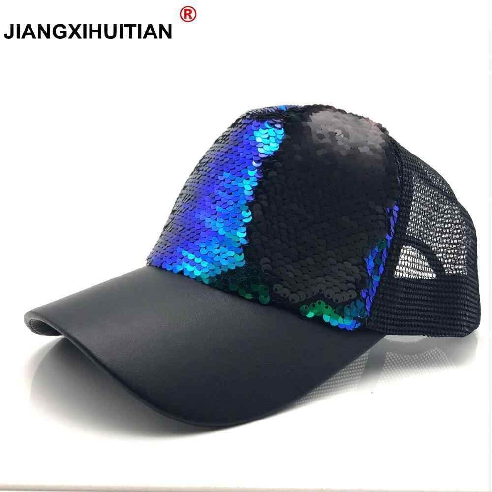 8224ed83 New Fashion Baseball Cap Women's Adjustable Cap Casual Hat Reflective  Sequins Fashion Snapback Summer Sun Hats