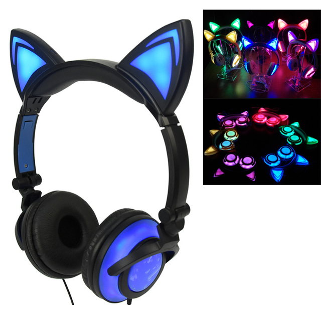 Cat Ear Headphones with Glowing Lights, for Kids