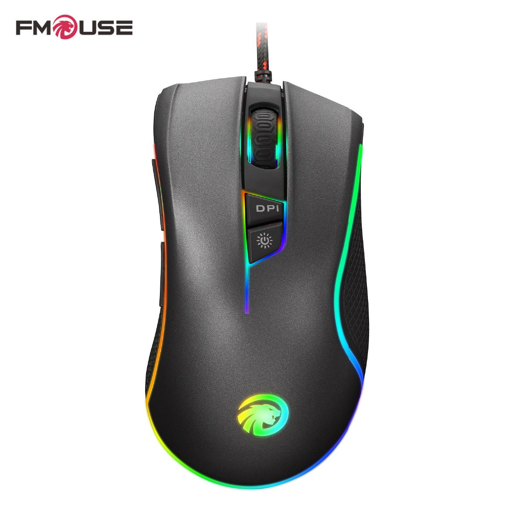 Original FMOUSE F300 4000 DPI Mouse Dazzle Colour Backlit Ergonomic USB Wired Optical Gaming Mouse Gamer