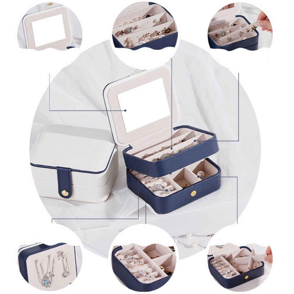 ¡Novedad! caja de joyería portátil para mujer, caja de almacenamiento para embalaje de viaje, caja organizadora para maquillaje, caja expositora de joyería caliente