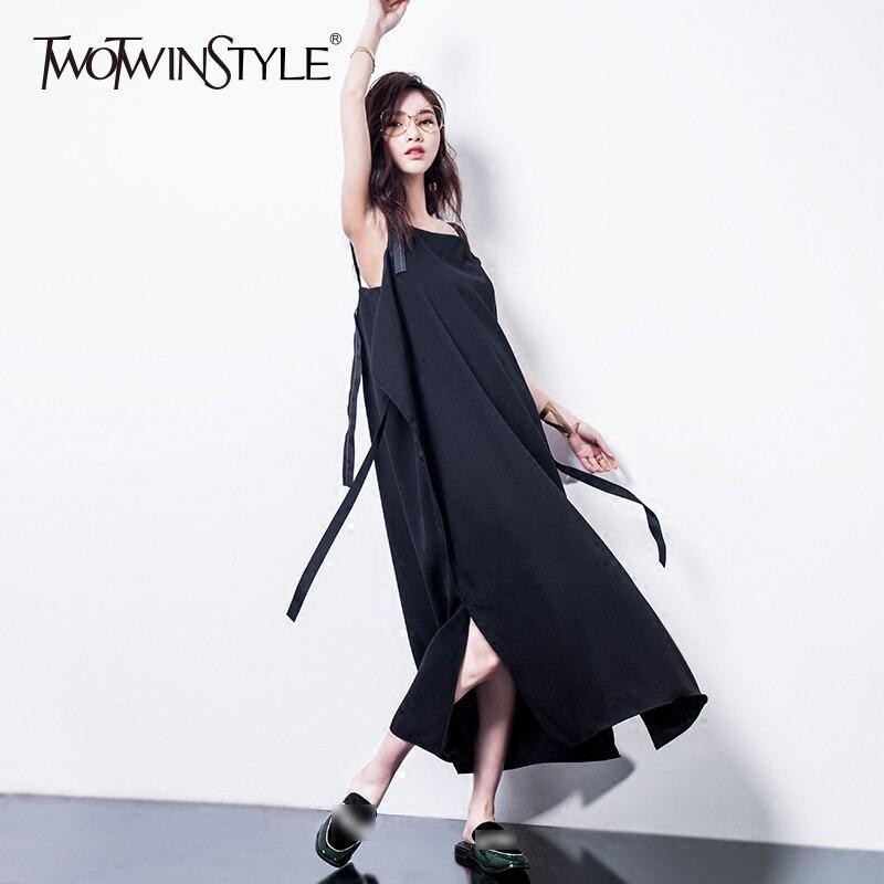 TWOTWINSTYLE Spaghetti Sangle Robe Dames Rubans Patchwork Base Split Oversize X Longue Robes 2018 D'été De Mode Vêtements