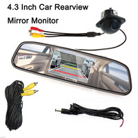Car Monitor Mirror Car Rearview Parking Kit Include 4.3 480 x 272 Inch Reverse Monitor & 13.5mm Lens Backup Camera