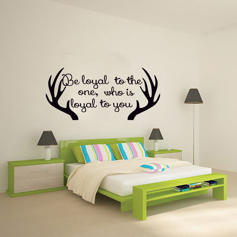 popular bedroom wall sayingsbuy cheap bedroom wall sayings lots  - bedroom wall decor antler wall sticker sayings be loyal to the one who isloyal to