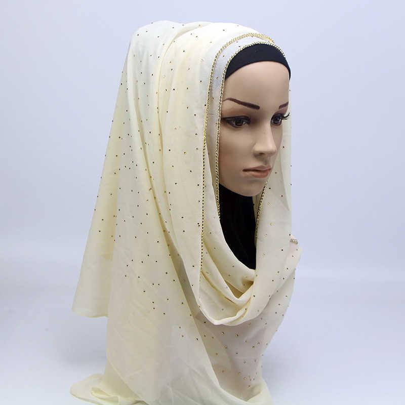 Блестящий хрустальный мусульманский простой хиджаб мгновенные шали пузырь шифон длинный шарф Amira скольжения на шарфы обертывания для женщин повязка на голову