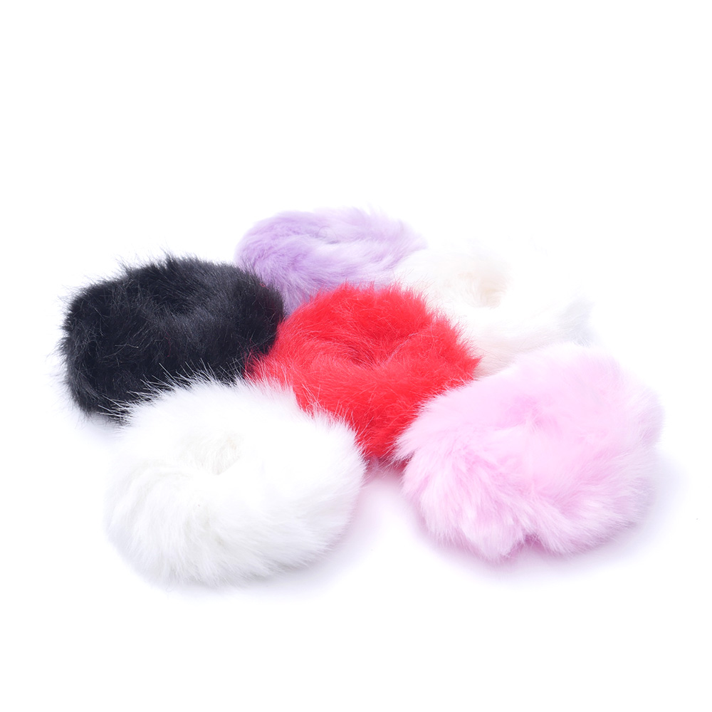 Cute Trendy Warm Soft Fake Rabbit Fur Woman Elastic Hair Rope Bands Girls Hair Accessories Rubber Band Headwear