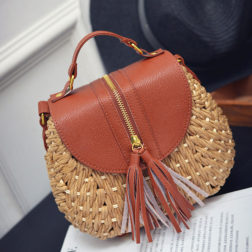 New Arrival Summer Bohemian Women Tassel Straw Beach Shoulder Bag Famous Designer Ladies Woven Knitting Messenger Crossbody Bags beach straw bags women appliques beach bag snakeskin handbags summer 2017 vintage python pattern crossbody bag