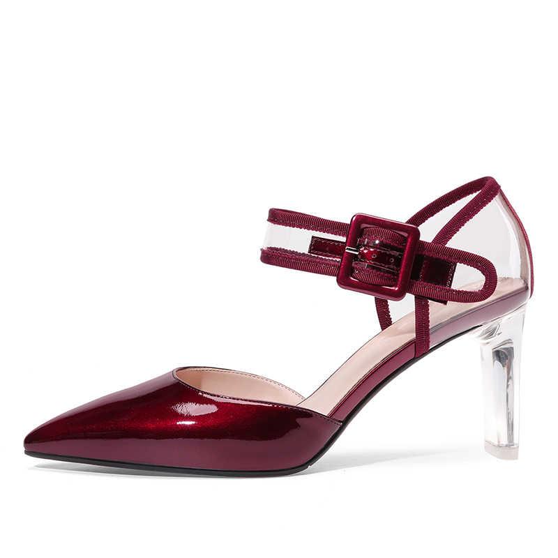 BEIJO Molhado Pvc Transparente Sandálias Das Mulheres Apontou Calçados Toe Cristal Salto Alto sapatos De Couro Feminino sapatos De Verão mulher 2019