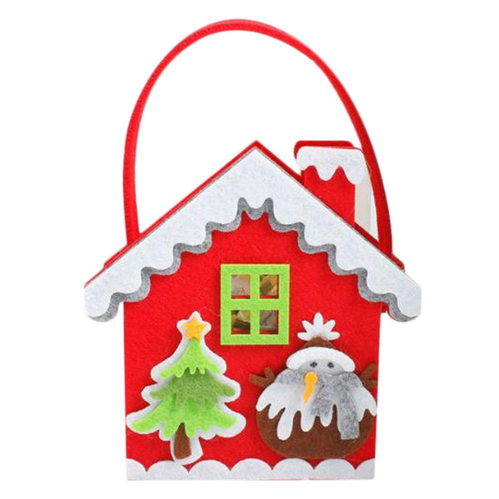 Candy bags Christmas Gift Bag Candy Gift Biscuit for children Christmas House Pattern Christmas Party Decoration Bag Hang on t ...
