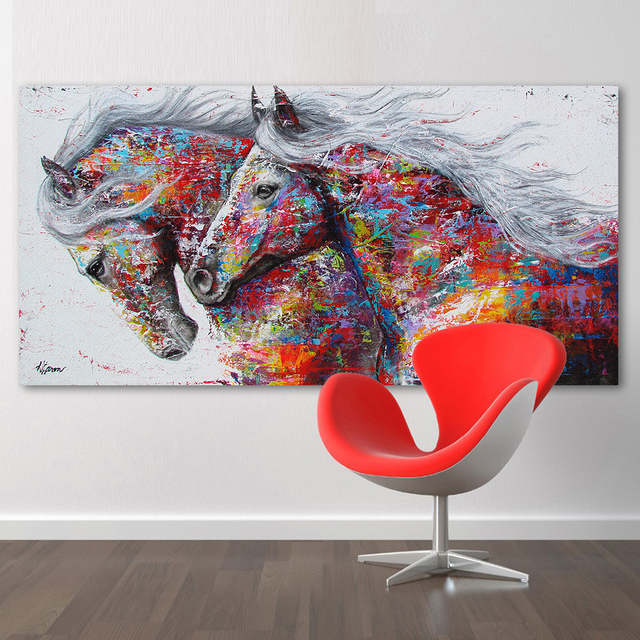 Hdartisan Wall Art Picture Canvas Oil Painting Animal Print Two Running Horse No Frame
