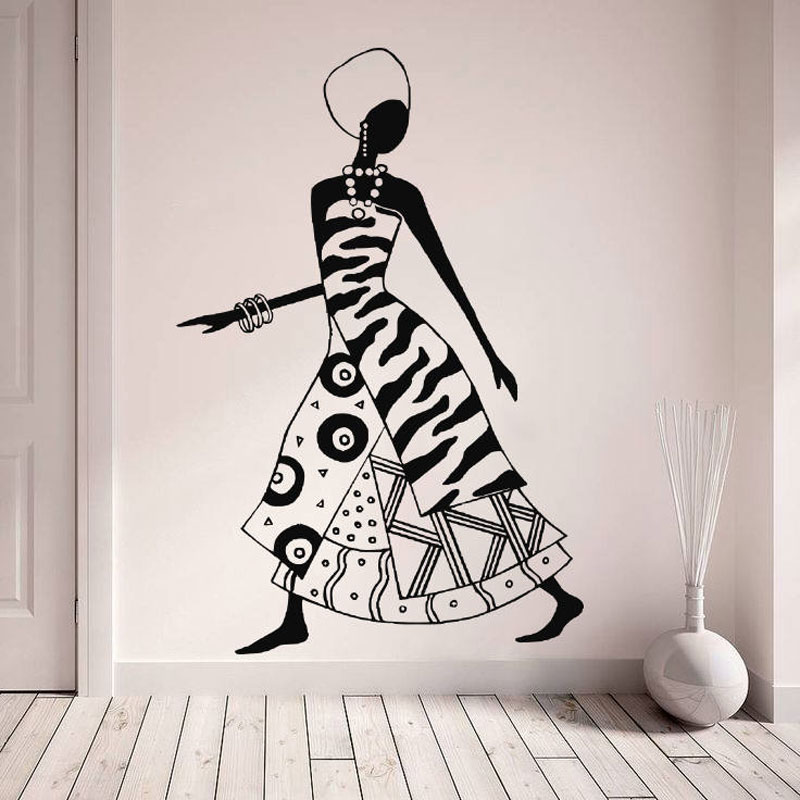 African Woman Decal, Tribal Africa Thematic Vinyl Sticker, Fashion Black Women Dancers Decals, Decor DIY Murals AM10