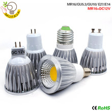E27 E14 GU10 MR16 LED COB Spotlight Dimmable 9w 12w 15w Spot Light Bulb high power lamp DC12V or AC85-265V(China)