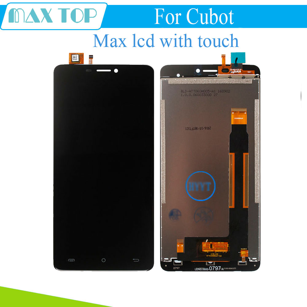 For CUBOT MAX LCD Display+Touch Screen 100% Original LCD Digitizer Glass Panel Replacement For CUBOT MAX lcd free shipping new original 5 for cubot p6 touch digitizer sensors outer glass black replacement parts free tracking for cubot p6 lcd touch