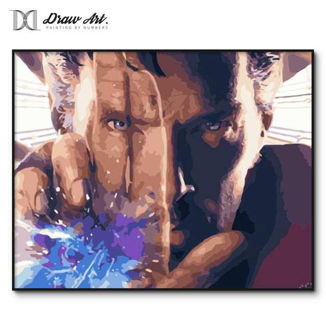 DIY digital painting by numbers Doctor Strange Poster hand-painted Paint by number kits for adults decorative painting framed