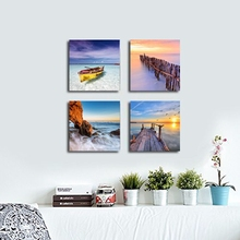 Sunset Boat Seaview Modern Home Decor Seascape Giclee Canvas Painting Prints Wall Art Landscape Sea Beach 4 Panels