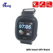 Ребенок Смарт-часы Q90 GPS lbs позиционирования дети часы 1.22 дюймов Сенсорный экран sos часы трекер для малыша безопасный Мониторы # c0
