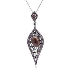 Image 1 - GEMS BALLET 100% 925 Sterling Sliver Natural Smoky Quartz Gemstone Vintage Gothic Punk Pendant Necklace For Women Party Jewelry