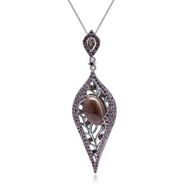 GEMS BALLET 100% 925 Sterling Sliver Natural Smoky Quartz Gemstone Vintage Gothic Punk Pendant Necklace For Women Party Jewelry