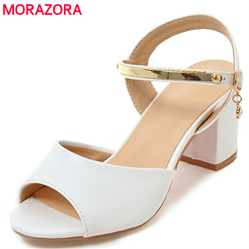 MORAZORA Big size 34-45 summer shoes woman sandals high heels shoes PU buckle solid fashion sweet party shoes morazora bind pu solid high heels shoes 5cm in summer fashion elegant party shoes sandals party large size 34 42