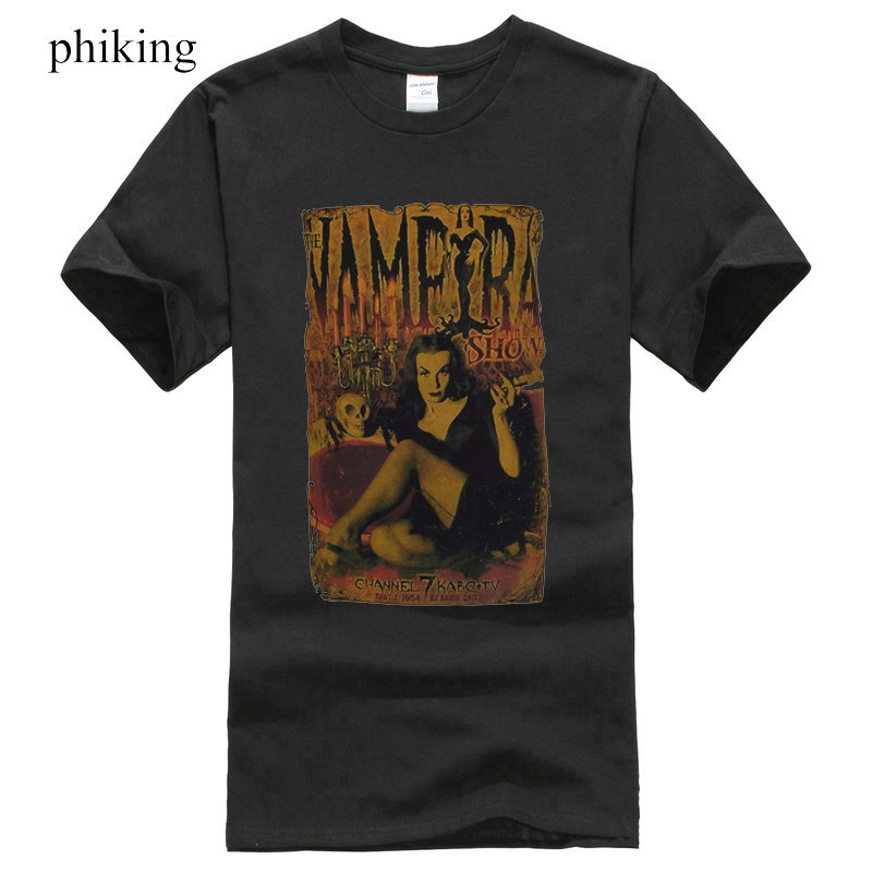 Mens Black T-Shirt The Vampira Show B Movie Horror Poster Vampire Goth S 3XL Printed T-Shirt Boys Top Tee Shirt Cotton ...