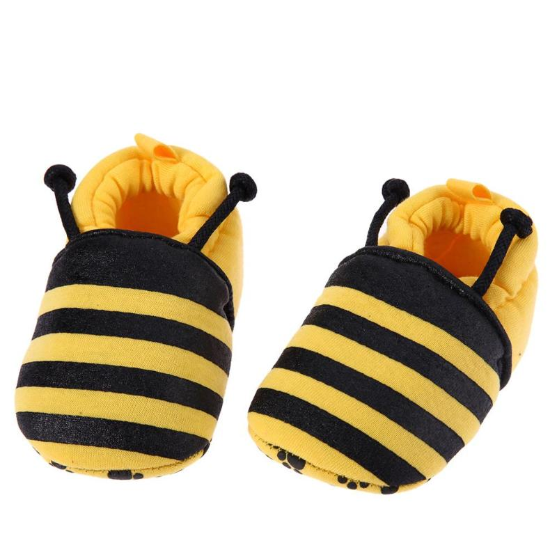 3 Styles Cartoon Bee Beatles Zebra Pattern Baby Shoes Elastic Soft First Walker Infant Crib Shoes Non-slip Soft Bottom Shoes