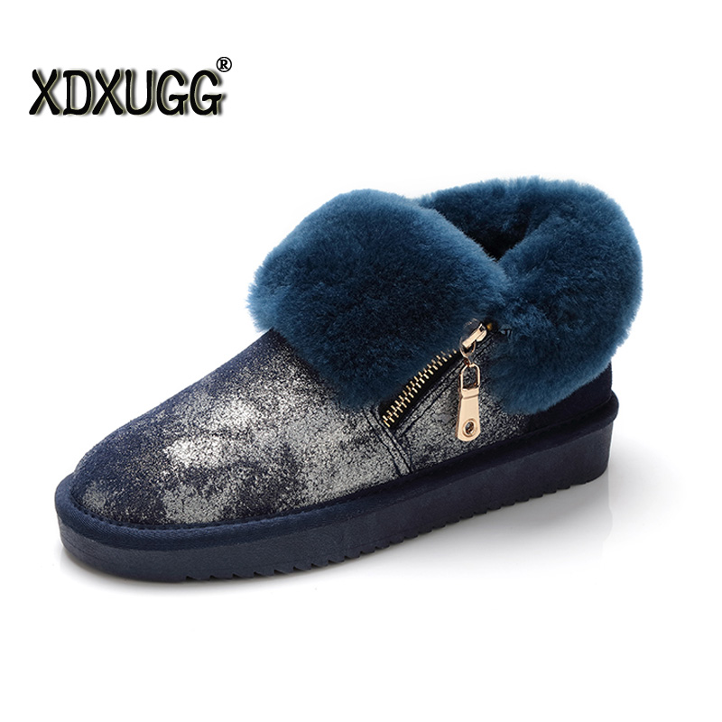 2018 Fashion Top quality Women snow boots Natural Fur Winter Boots Women's Fashion Ankle Boots Women Warm Shoes Wool Warm Boots serene handmade winter warm socks boots fashion british style leather retro tooling ankle men shoes size38 44 snow male footwear