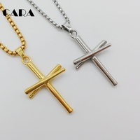 CARA Gold Color Baseball Bat Cross Necklace 316L Stainless Steel Cross Necklace Fashion Gym Sports Biker