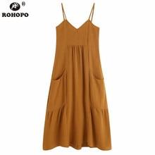 цена на ROHOPO Brown Spaghetti Strap Brown Linen Midi Dress Side Pocket Chic Pleated Solid Flared Dress Ruffles Trim Vestido #UK9459