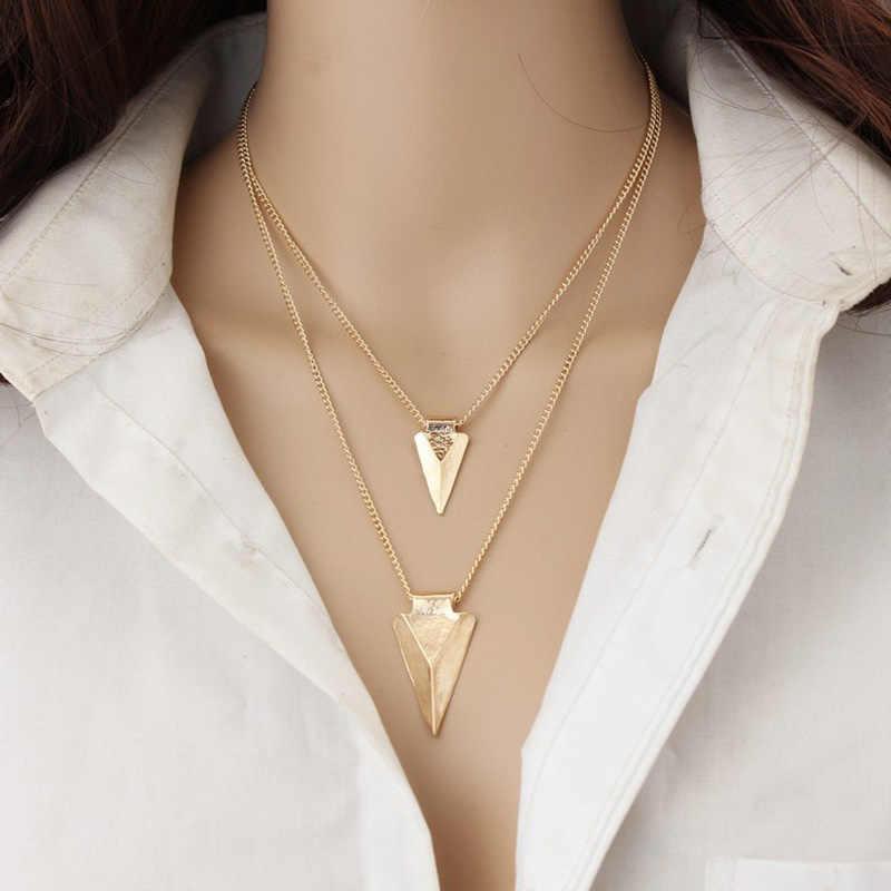 Moda podwójne geometria metal choker naszyjnik przesadzone naszyjnik na obojczyk kobiety męskie naszyjniki i wisiorki collares
