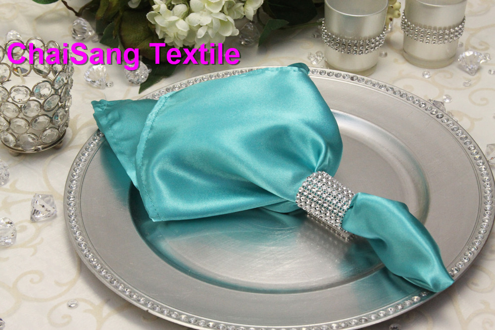 Aliexpress Buy 100pcs 95 Tiffany BLue Satin Napkin 45x45cm For Wedding Event Party Decoration From Reliable Napkins Polyester Suppliers On ChaiSang